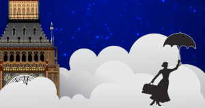 graphic design of mary poppins flying in sky with umbrella