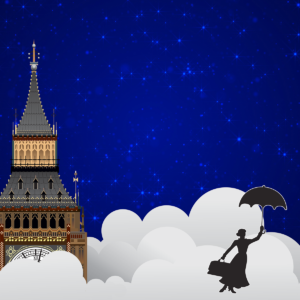 image of mary poppins flying in the sky with an umbrella