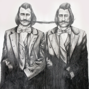 thumbnail photo of a graphite drawing of two men connected by their mustaches