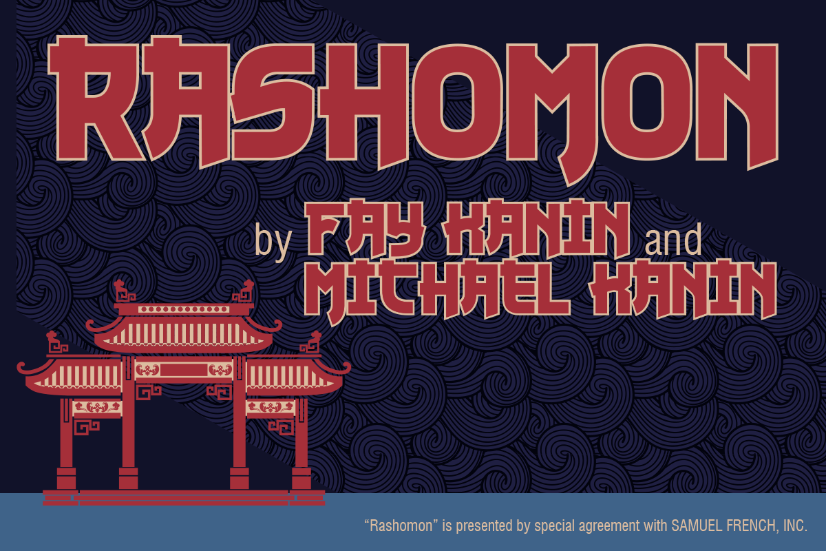 Rashomon by Fay Kanin and Michael Hanin. Graphic design is Asian influenced.