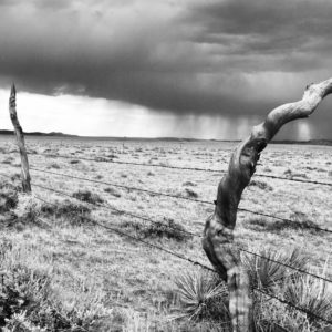 Black-and-white photo of a field with a fence in the foreground and a storm in the distant background.