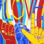 painting depicting hands in primary colors that spell out A-S-L in sign language