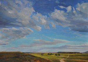 painting of western landscape with a single road, emphasis on a wide open sky