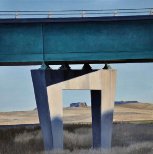 painting of wyoming scenery framed underneath a road bridge