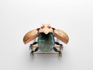 Hydraulic pressed and fabricated copper, brass, enamel, patina