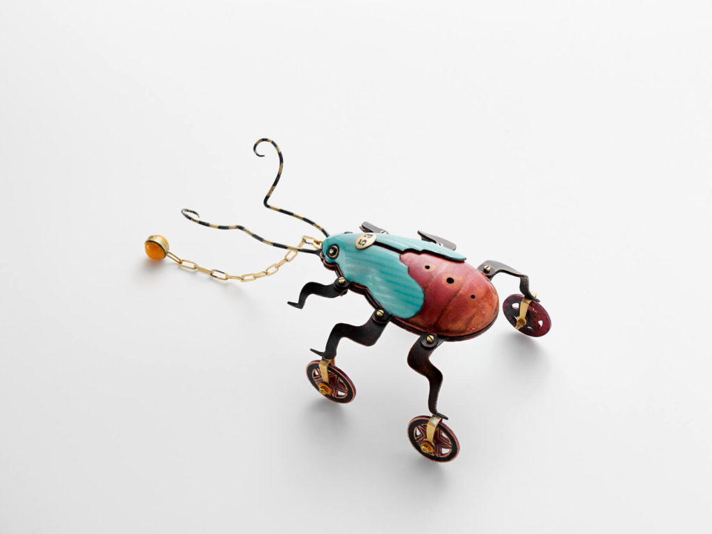 Hydraulic pressed copper, brass, enamel, patina, micro hardware